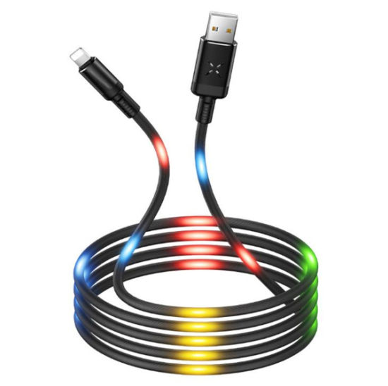 USB Charging Cable, Flowing LED Light Data Cable 1m