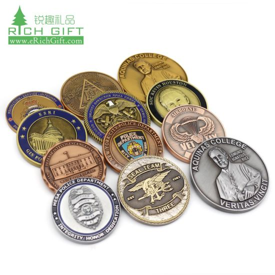 Single Custom Made 3D Logo Printed Novelty Gold Plated Souvenir Metal Medal Mint Antique Brass Copper Engraved Silver Stamping Spinner Challenge Coin No Minimum