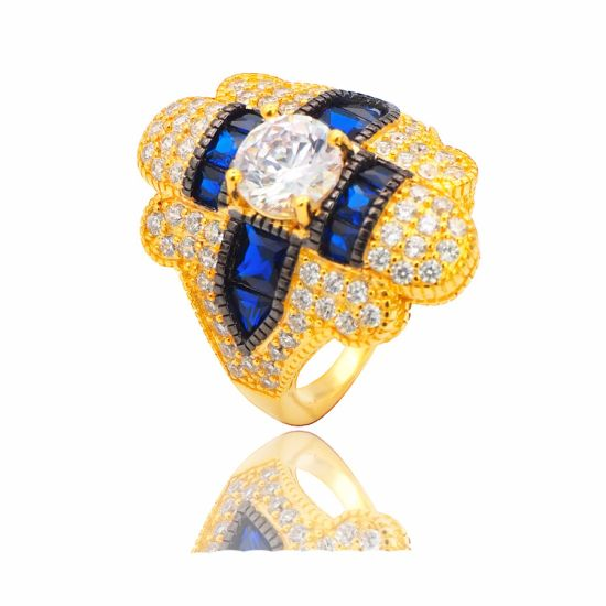 Gold Plated Sterling Silver Vintage Ring with Created Sapphire Fine Jewelry Wholesale
