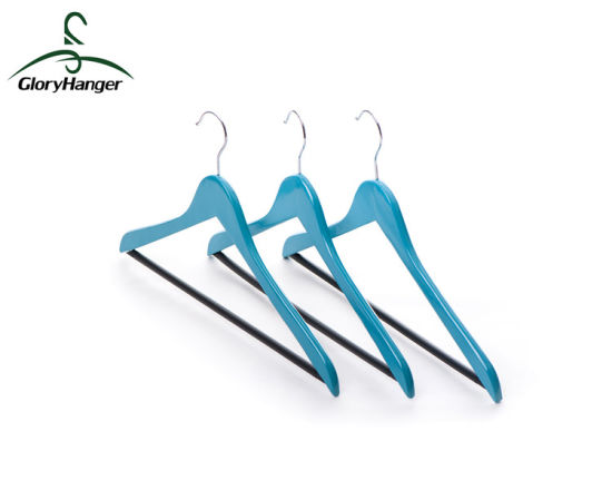 Color Wooden Clothes Hanger with Anti Slip Trouser Bar pictures & photos