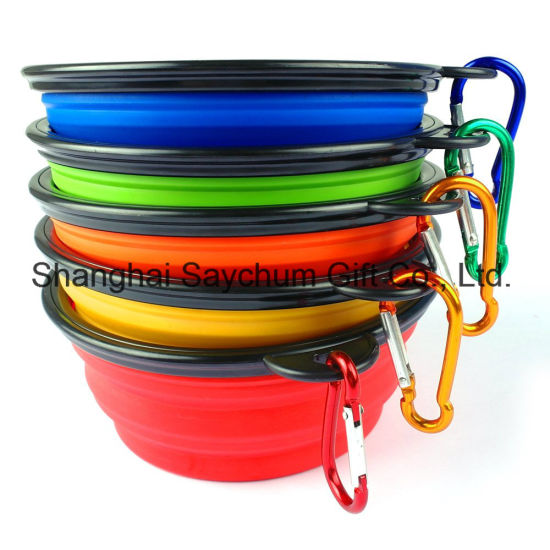 Dog Folding Collapsible Feeding Bowl Silicone Water Dish Cat Portable Feeder Puppy Pet Travel Bowls