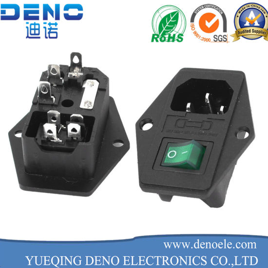 IEC320 C14 Plug Type Socket with Fuse Holder with Rocker Switch