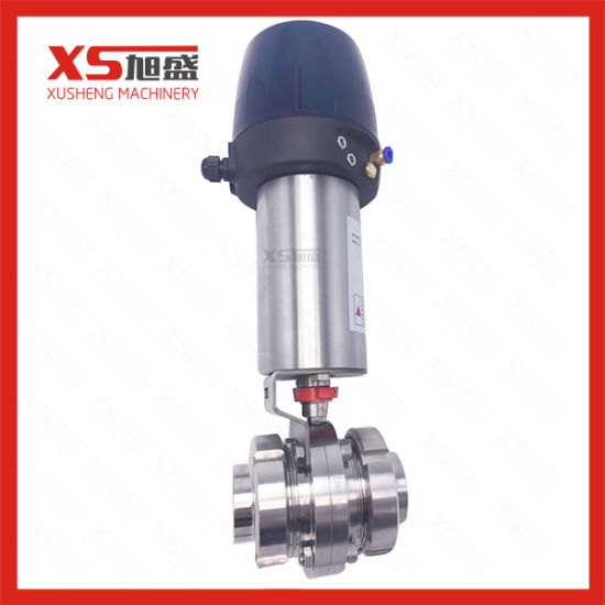 Dn40 Stainless Steel AISI304 Union Ends Butterfly Valves with Control Head