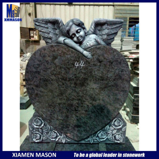 UK Style Heart Shape Gravestone with Cherubfor Statue for Sale