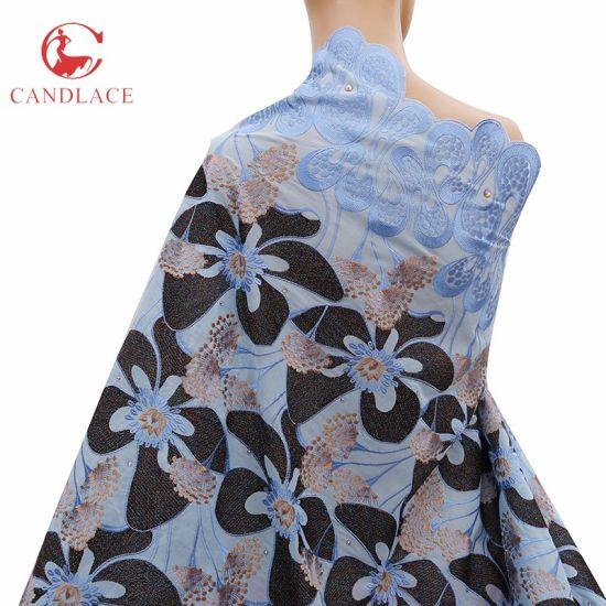 Wholesale Big Flower Organic Cotton White Cotton Fabric Lace for Wedding