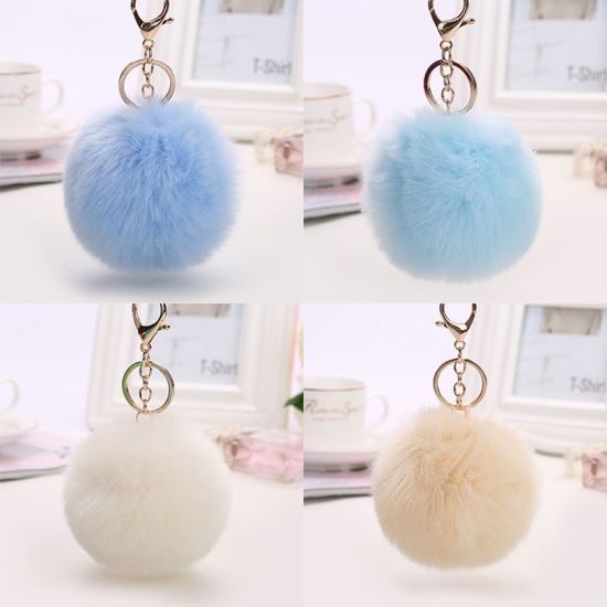 Fur Pompom with Lobster Clasp Fur POM Keychains pictures & photos
