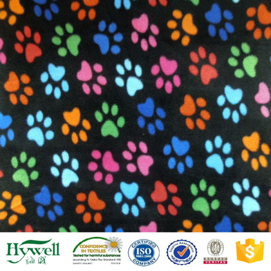China Suppliers Polyester Paw Printed Fleece Fabric Textiles