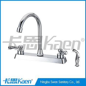 Two Handle Swivel Spout Kitchen Faucet With Pull Out Side Spray