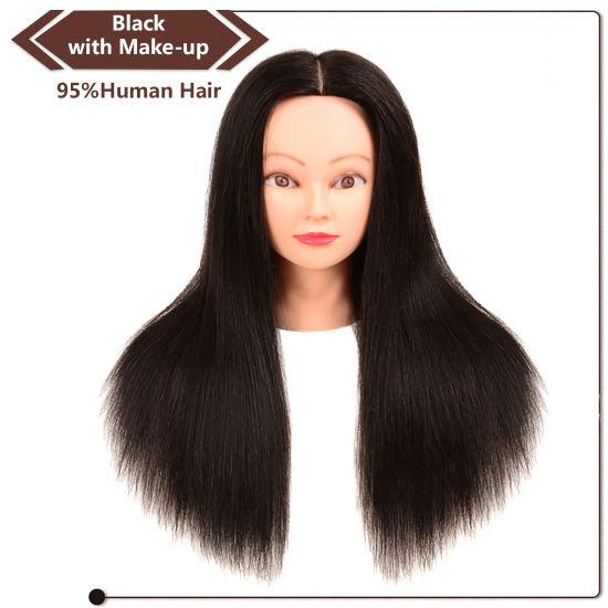 Black Human Hair Training Head With