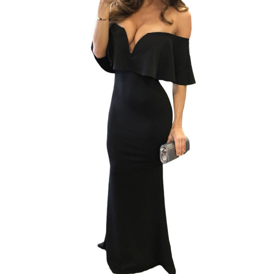 Elegant Black Ruffle off Shoulder Party Maxi Prom Evening Dress pictures & photos