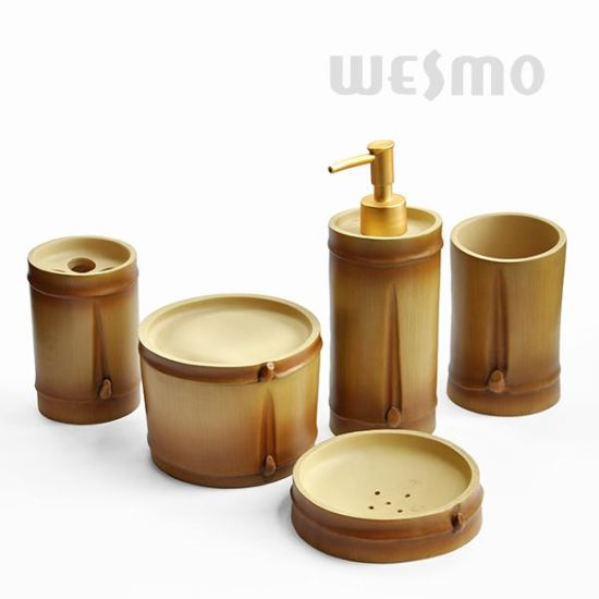 Bamboo Style Polyresin Bathroom Accessories (WBP1185A)