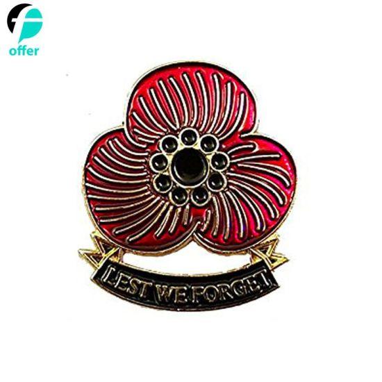 Lest We Forget Rememberance Poppy Enamel Lapel Pin