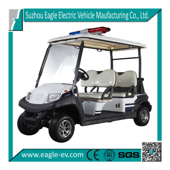 Electric Police Golf Cart for Sale, 4 Seat, New Design, Best Price, with Police Light, Hydraulic Brake, Aluminum Roof Support pictures & photos