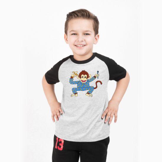 Eco-Friendly Cotton Children's Baseball T-Shirt with Monkey Logo