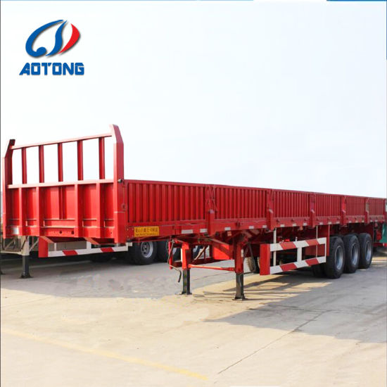 China Hot Sale 3axle Flatbed Cargo Trailers (portal frame optional ...