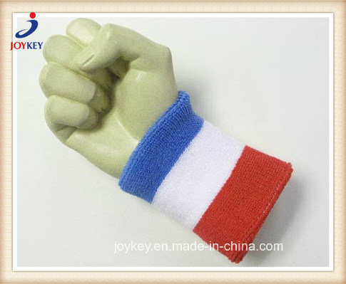 Custom Promotional Three Colors Stripes Terry Cotton Wristband