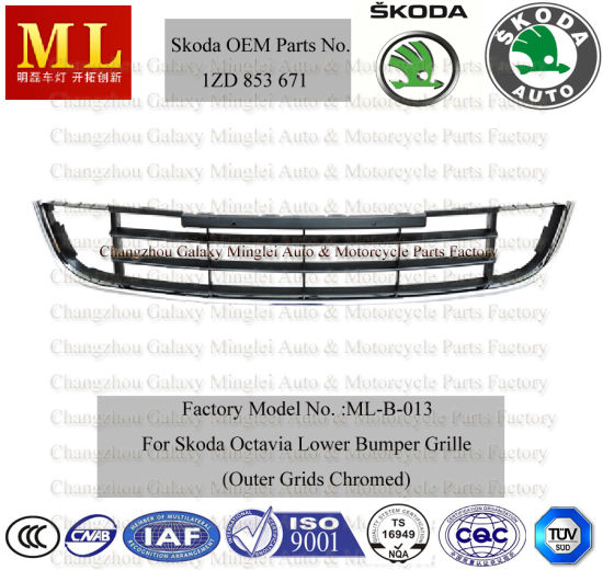 Auto Grille, Lower Front Bumper for Skoda Octavia Car From 2008-2ND Generation (OEM parts No.: 1ZD 853 671)
