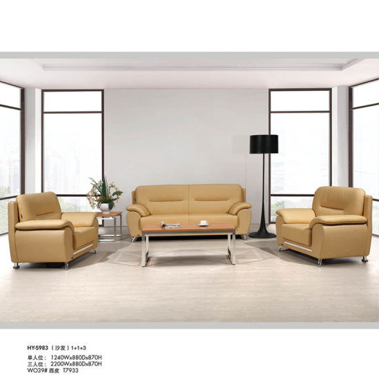 Modern Design Living Room Leather Sofa Set Covered with Metal Leg (HY-S983)