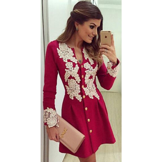 046942b21e4 Women Spring Winter Clothing Red Sexy Lace Top Latest Dress Designs  pictures   photos