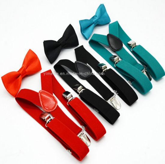 Pure Colors Adjustable Kids Trousers Braces Party Bowtie Suspender Set