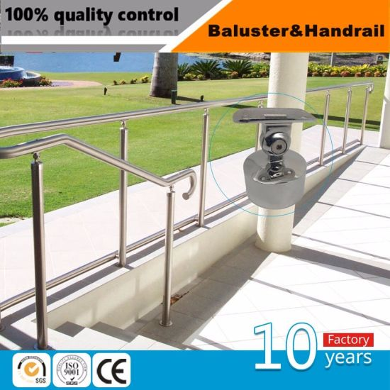 Stainless Steel Stair Parts Handrail System / Glass Railing