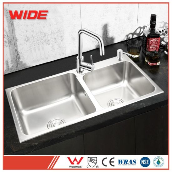 china factory price best quality double bowl hand made 304 stainless rh gdwide en made in china com best quality kitchen sinks australia good quality kitchen sinks