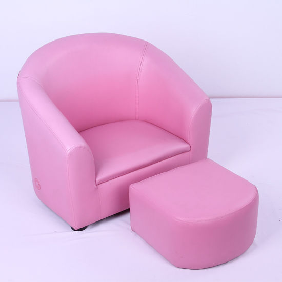 Baby Pink Round Back Kids Sofa With Foot Stool (SF 12)