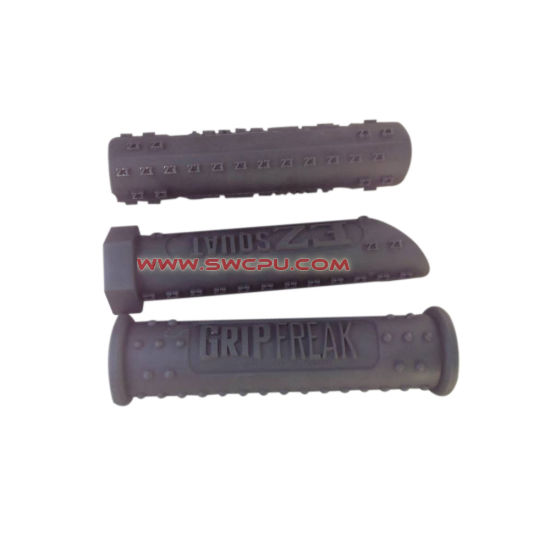 Injection Molded Soft Ribbed Rubber Silicone Handle Grip with Logo