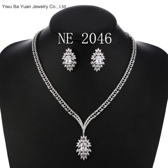 Luxury Sparking AAA Cubic Zircon Wings Earrings Necklace Large Jewelry Set Wedding Bridal