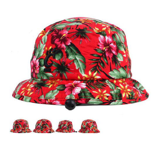 5df9cab6cb1 Colorful Flower Style Red Cotton Bucket Hat with Embroidery Logo pictures    photos