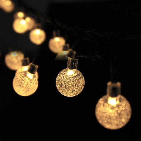 Garden Solar Lights, 8 Modes Waterproof String Lights Warm White Outdoor Fairy Lights Globe Crystal Balls Decorative Lighting for Garden Yard Home Party Wedding