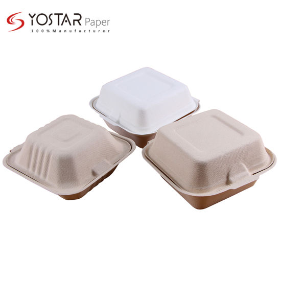 Hot Sale Biodegradable Pulp Food Container Take Away Lunch Box Sugarcane Bagasse Clamshell Box, Kitchenware