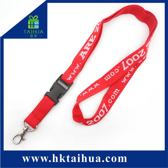 Custom Design Festival Fabric Woven Lanyard with Plastic Hook pictures & photos