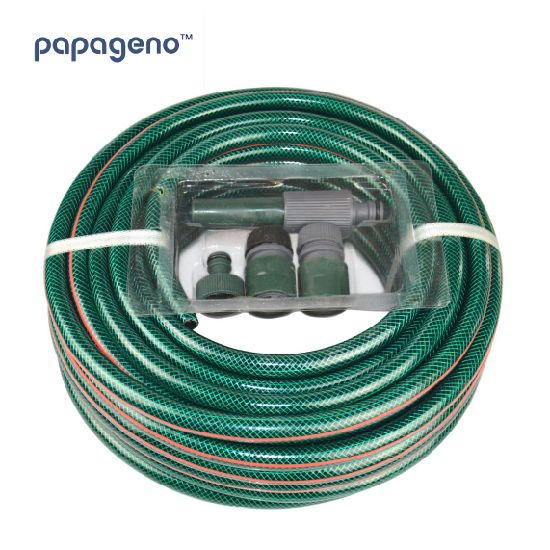 """1/2""""-1""""Inch 30m Reinforced Garden Hose Watering Nozzle Fittings Set Included Spray Hose"""