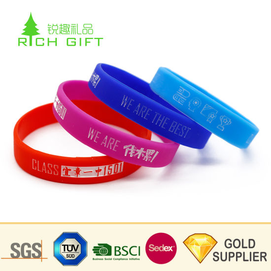 China New Design Customized Promotional Silicone Rubber Wristbands