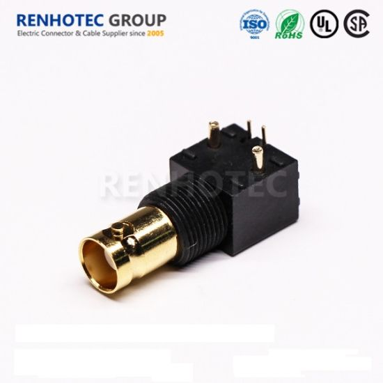 Black Isolated Gold Plated Angled BNC Connector Female