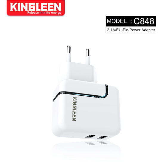 2.1A EU Plug Dual USB Port Mobile Phone Wall Charger