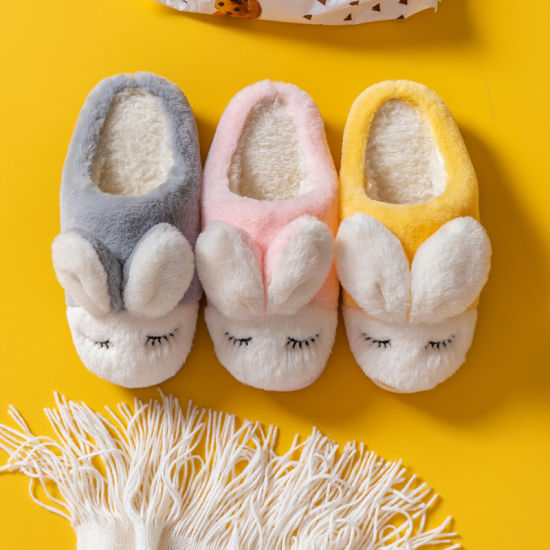 New Family Cotton Slippers Female Winter Warmth for a Family of Three Home with Indoor Non-Slip Plus Fluffy Slippers Male Parent-Child Slippers