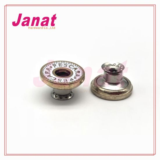 Enamel White Color Alloy Material Middle Hole Shank Button