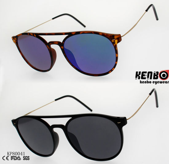 96a13bb7b0 Fashion Rounded Plastic Sunglasses with Double Bridges and Slim Metal  Temple Kp80041 pictures   photos