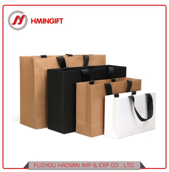 Custom Printing Advertising Wholesale Promotional Gift Bag Eco Friendly Kraft Paper Garment Shopping Bag pictures & photos