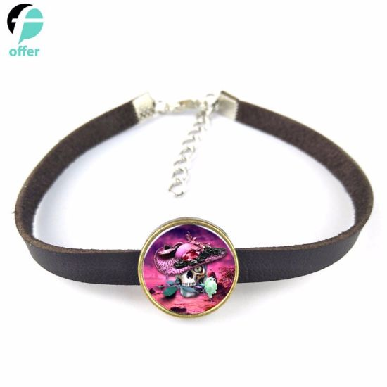Men′s Clothing Accessories Halloween Skull Collection Leather Bracelets and Bracelets pictures & photos