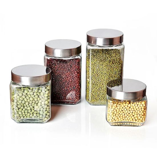Hot-Selling Food Glass Storage Jar Glass Candy Jar with Metal Lid pictures & photos