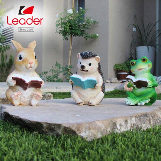 China Rabbit Reading Book Ornament Terrace Figurine Miniature Statue Cute Patio Bunny Figure Outdoor Decor Sculpture For Your Garden China Rabbit Statue And Garden Decor Price