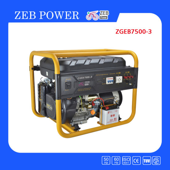 7kw Open Type Three Phase Portable Gasoline Generators (ZGEA7500-3 and ZGEB7500-3)