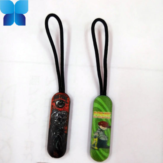 Black Plastic Rubber Zipper Puller with String for Garment