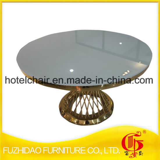 Manufacturer Stainless Steel with Temper Glass Top Dining Table pictures & photos