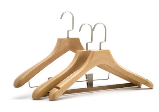 Deluxe Wide Shoulder Wood Hanger with Flat Nickel Hook