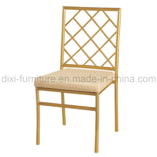Wedding Aluminum Bamboo Chair With Fixed Seat Cushion And Cross Back