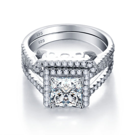 Luxury 925 Sterling Silver Wedding Engagement Ring